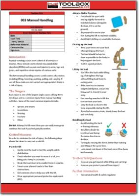 Manual handling toolbox talk