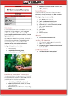 environmental awareness toolbox talk