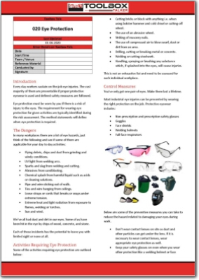eye protection toolbox talk