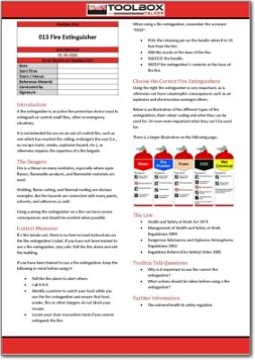 fire extinguisher toolbox talk