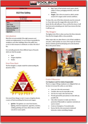 fire safety toolbox talk