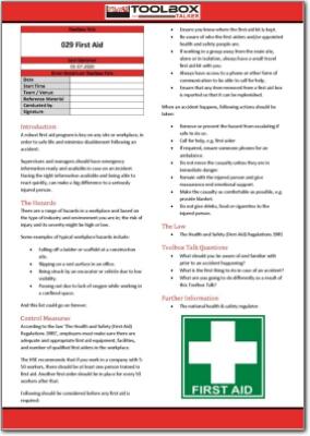 first aid toolbox talk