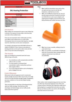 hearing protection toolbox talk