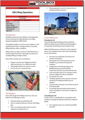 lifting operations toolbox talk