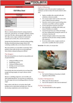 silica dust toolbox talk
