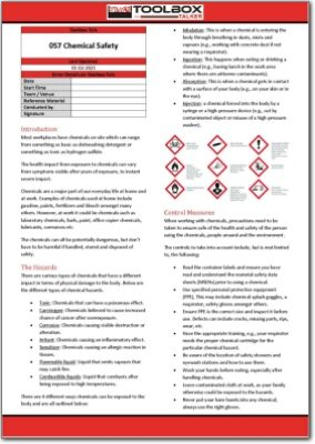 chemical safety toolbox talk