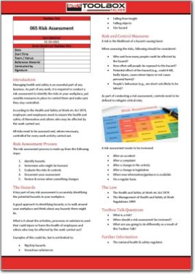 risk assessment toolbox talk