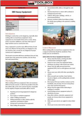 heavy equipment toolbox talk